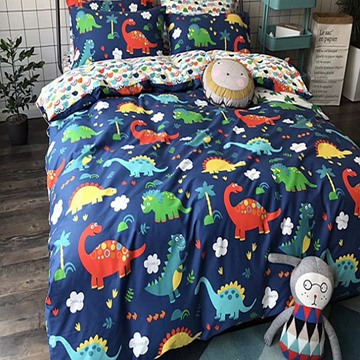 Cartoon Dinosaur Printed Cotton Blue Kids Duvet Covers/Bedding Sets