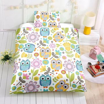 Cartoon Owls and Flower Printed 2PC/3PC Bedding Sets/Duvet Cover