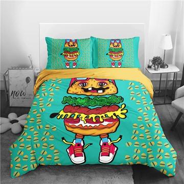 Four-Piece Set Machine Wash Duvet Cover Set Polyerter Bedding Sets Hamburger Child Cute Gift Durable Anti-wrinkle