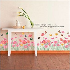 Leisurely Butterfly Flying over Elegant Flowers and Grass Wall Stickers
