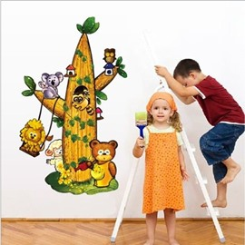 Animals on Tree PVC Waterproof and Eco-friendly Removable Wall Stickers