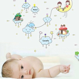 New Arrival Cartoon Moon and Star Wall Stickers