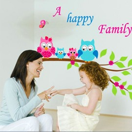 Amusing Happy Family Colorful Night Owls Print Wall Stickers
