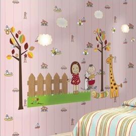 Cheerful Cartoon Children with Giraffe in Garden Print Wall Stickers