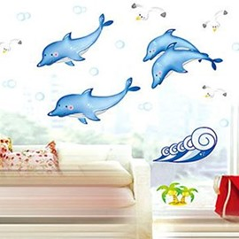 Elegant Super Lovely Dolphins Pattern Wall Stickers