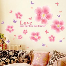 Top Classic Romantic Cinderella Flower Wall Stickers