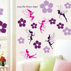 Pretty Wonderful Dragonflies Angel with 46 Flowers Wall Stickers
