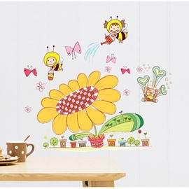 Super Cute Sun Flowers And Honey Bees Children' s Wall Sticker