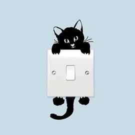 Vivid Cute Black Cat Light Switch Removable Wall Sticker