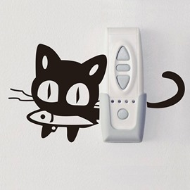 Creative Cat with Fish in Mouth Light Switch Removable Wall Sticker