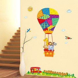 Cartoon Animals on Hot Air Balloon Removable Wall Sticker