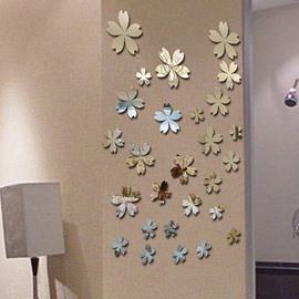 Beautiful Flowers Plastic Mirror Decorative Wall Stickers