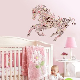 Wonderful Decorative Digital Running Horse Pattern Wall Sticker