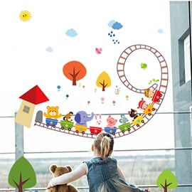 Animal Roller Coaster Pattern Glass and Wall Sticker