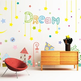 Cute Colorful Dream Moon and Star Pattern Children Room Decorative Wall Stickers