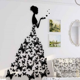Modern Fashion Acrylic Pretty Butterflies Girl Design Home Decorative 3D Wall Stickers