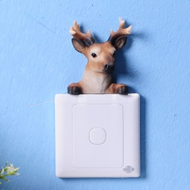 Natural Resin Deer Shape Design Home Decorative 3D Wall Switch Stickers