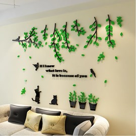 Removable Tree and Cat Acrylic 71*47 Kids Wall Stickers