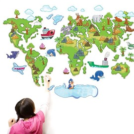 Removable World Map PVC Princess 39'*29' Kids Wall Stickers