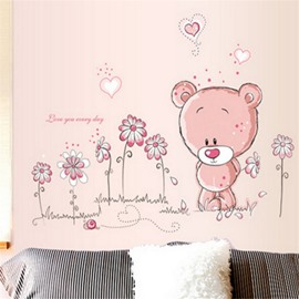 Durable Waterproof Bears and Flowers PVC Kids Room Wall Stickers