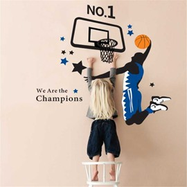 Durable Waterproof Shooting Boy and Basket PVC Kids Room Wall Stickers