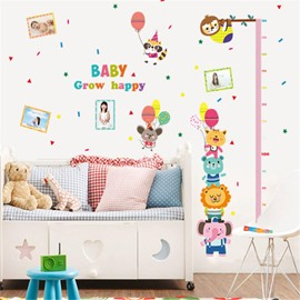 Durable Waterproof Animals PVC Kids Room Height Ruler Wall Stickers