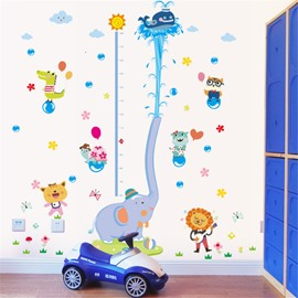 Durable Waterproof Spraying Elephant and Animals PVC Kids Room Height Ruler Wall Stickers
