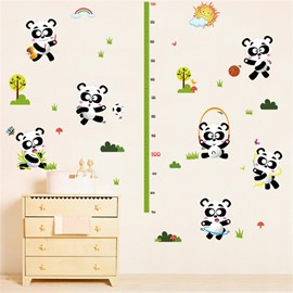 Durable Waterproof Pandas PVC Kids Room Height Ruler Wall Stickers