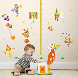 Durable Waterproof Clowns PVC Kids Room Height Ruler Wall Stickers