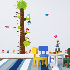 Durable Waterproof Animals on Tree PVC Kids Room Height Ruler Wall Stickers