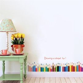 Durable Waterproof Colorful Pencils PVC Kids Room Wall Stickers