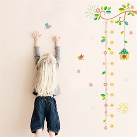 Durable Waterproof Flowers PVC Kids Room Height Ruler Wall Stickers