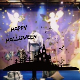 Durable Waterproof Halloween Castle and Bats PVC Kids Room Wall Stickers