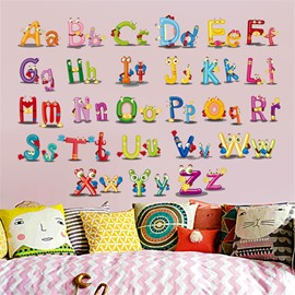 Durable Waterproof Cartoon Alphabet PVC Kids Room Wall Stickers