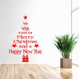Durable Waterproof Letter Christmas Tree PVC Kids Room Wall Stickers