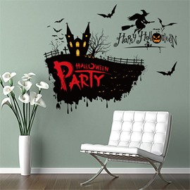 Durable Waterproof PVC Halloween Castle Kids Room Wall Stickers