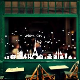 Durable Waterproof Christmas City PVC White Kids Room Wall Stickers