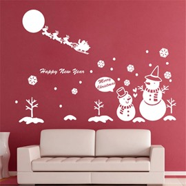 Durable Waterproof Snowmen and Deer PVC Christmas White Kids Room Wall Stickers