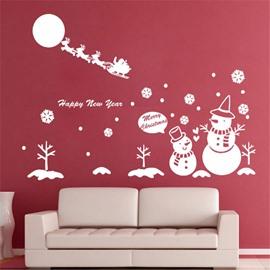 Durable Waterproof Snowmen and Deer PVC Christmas White Kids Room Wall Stickers