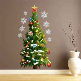 Durable Waterproof Christmas Tree PVC Green Kids Room Wall Stickers