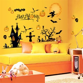 Durable Waterproof Terrible Castle PVC Halloween Kids Room Wall Stickers