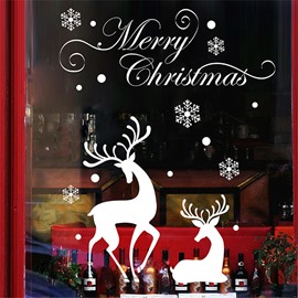 Durable Waterproof Deers PVC Christmas White Kids Room Wall Stickers