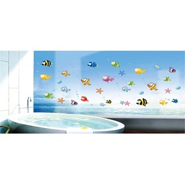 Sea World Cartoon Fish Bathroom/Toilet PVC Glass/Wall Sticker