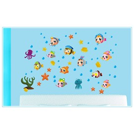 Cartoon Fish For Kids Sea Style Bathroom/Toilet PVC Glass/Wall Sticker
