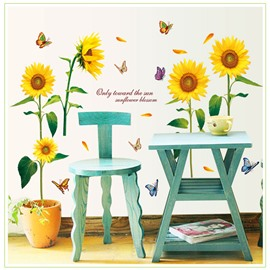 Sunflower Pattern Waterproof PVC Removable Room Decor Wall Sticker