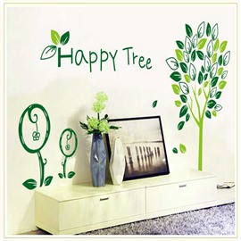 Green Happy Tree Natural Style PVC Removable Kids Room Wall Stickers