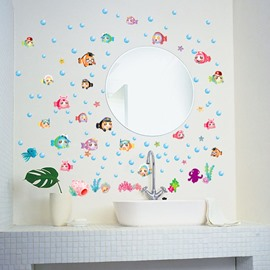 Funny Cartoon Fish For Kids Sea Style Bathroom PVC Glass/Wall Sticker