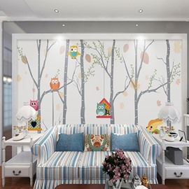 Non-woven Fabrics Waterproof Environment Friendly Birds And Tree Kids Room Wall Mural