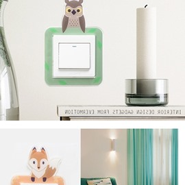4 Pattern Acrylic Material Cartoon Animals Switch Removable Wall Sticker