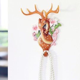Environment Friendly Resin Cute Couple Deer Design Decorative Wall Hooks